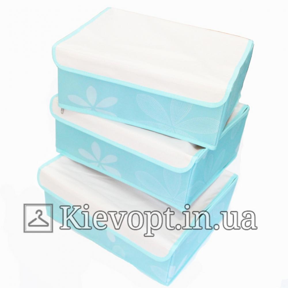 Набор органайзеров для белья с крышкой голубой (3 шт)