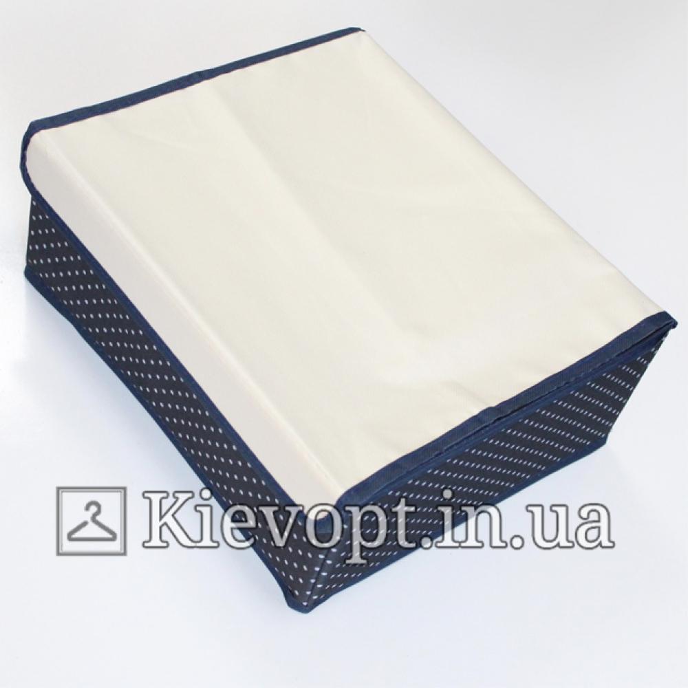 Органайзер для белья с крышкой синий в горох
