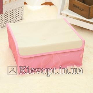 Органайзер для белья с крышкой розовый