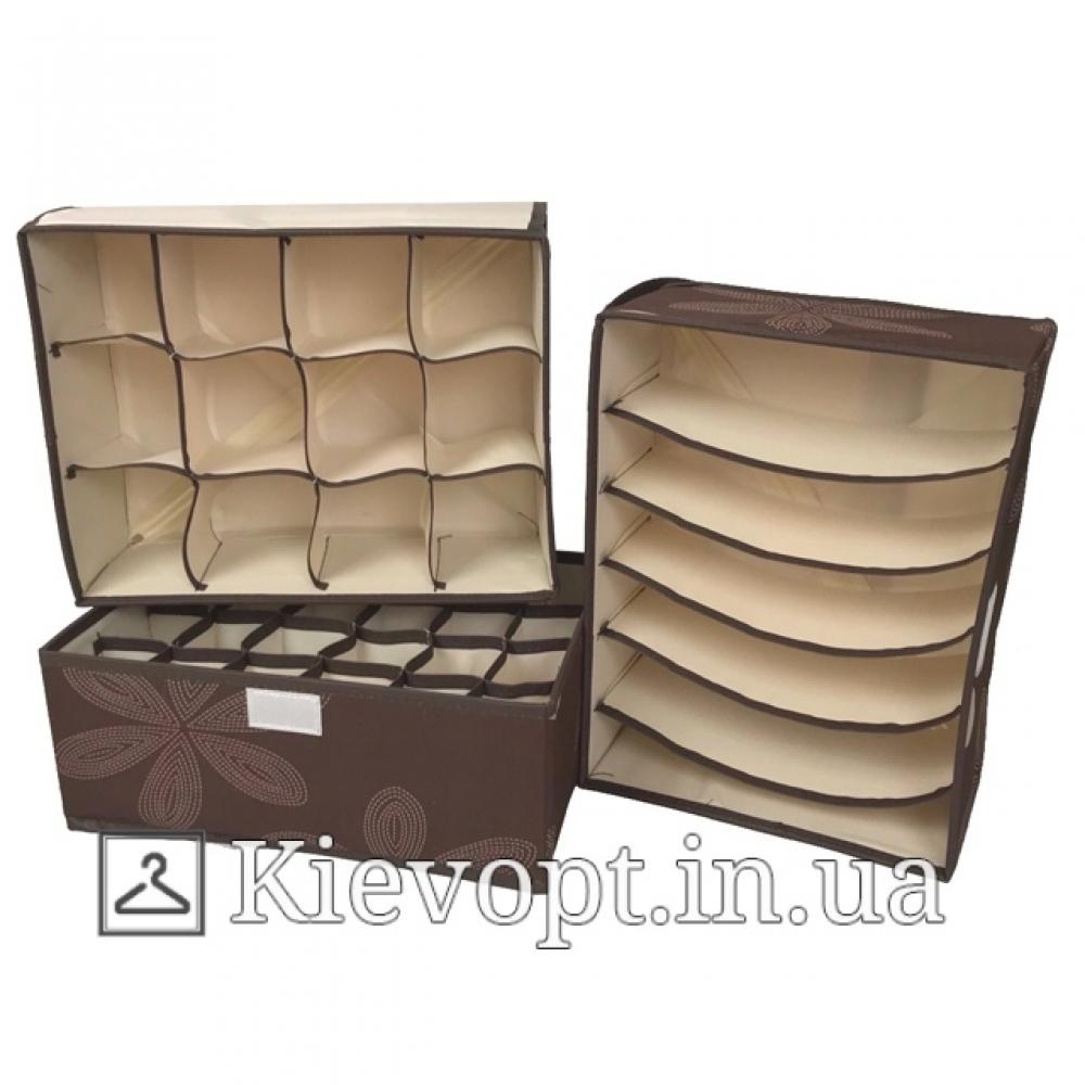 Набор органайзеров для белья с крышкой коричневый (3 шт)