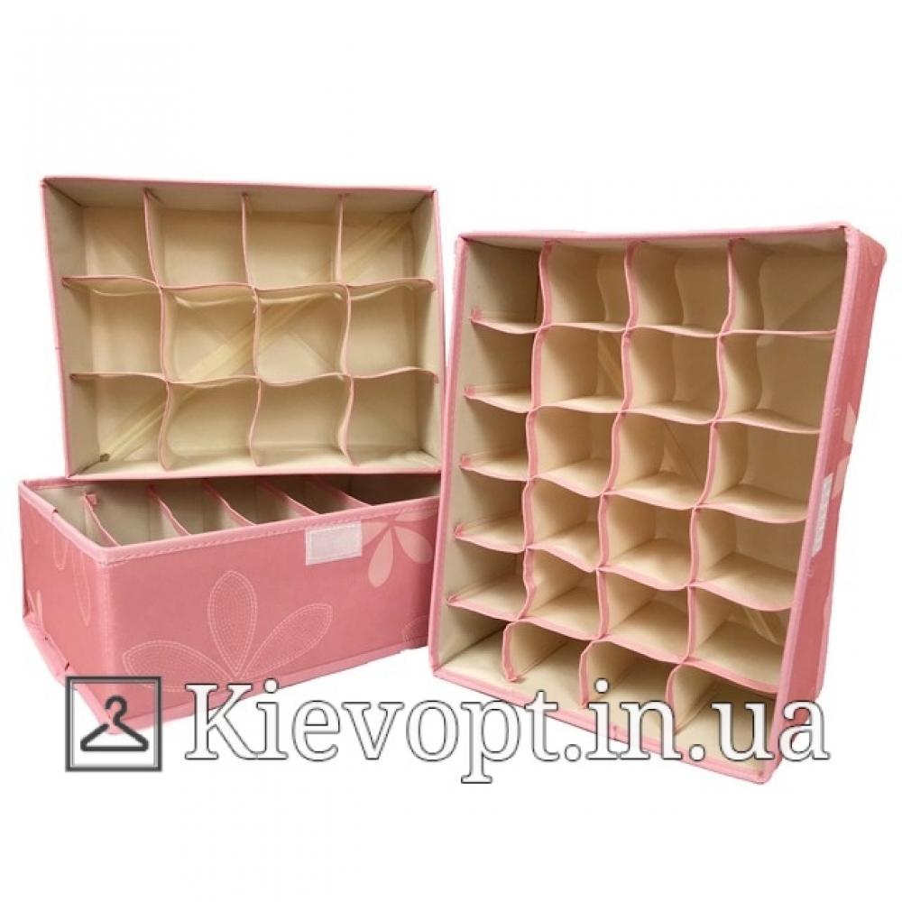 Набор органайзеров для белья с крышкой розовый (3 шт)