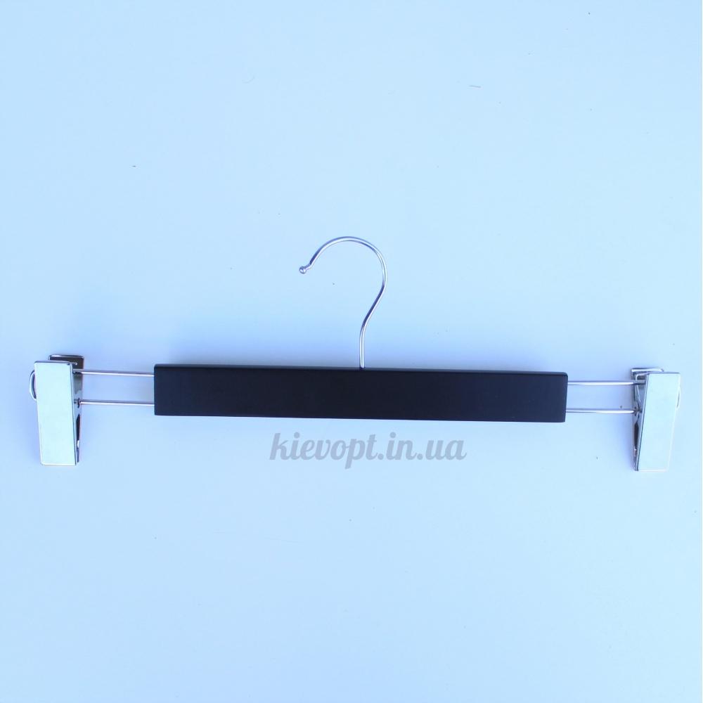 Деревянные плечики вешалки для брюк с зажимами черные, 37 см