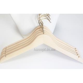 Деревянные плечики вешалки не лакированные эко без перекладины, 44 см