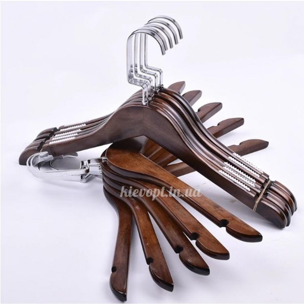 Деревянные плечики вешалки с прорезиненным плечом (темный орех), 39 см