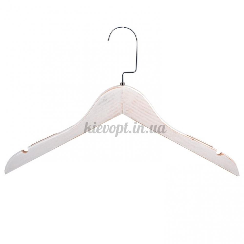 Деревянные плечики вешалки с прорезиненным плечом под старину белые, 38 см