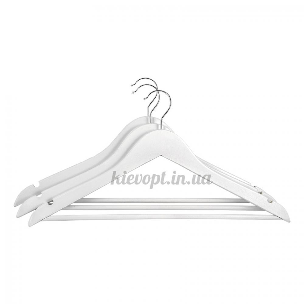 Деревянные плечики вешалки с перекладиной костюмные белые, 44 см