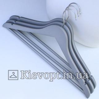 Деревянные вешалки soft touch покрытие серые, 44 см, 3 шт  (09-16-06)