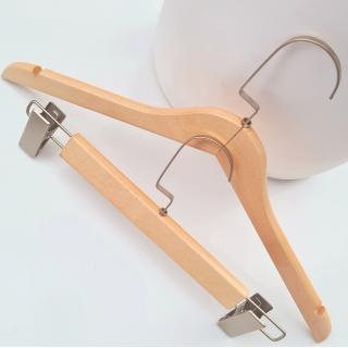 Тремпель деревянный, вешалки плечики с прищепками для юбок и брюк, 33 см