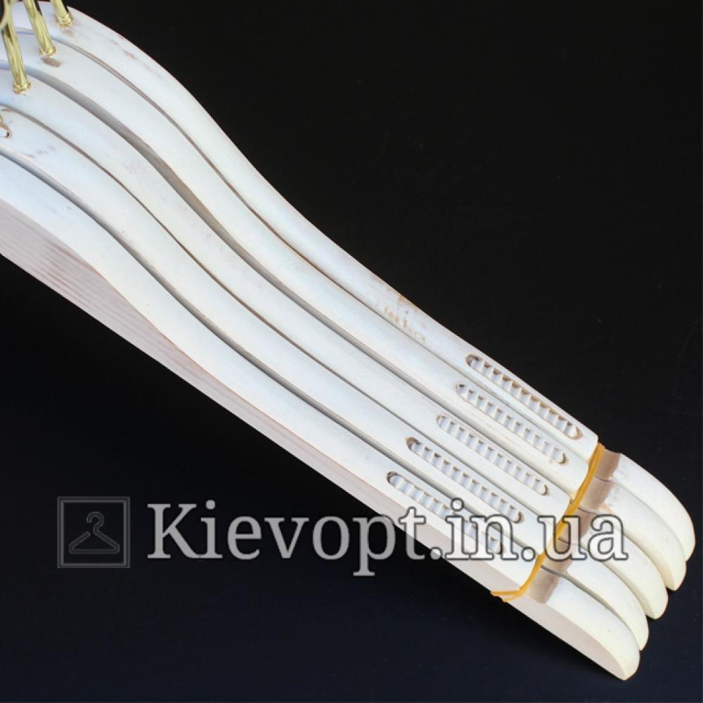 Деревянные вешалки для одежды под старину белые, 44 см