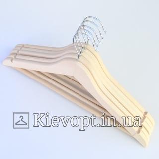Деревянные вешалки плечики с перекладиной не лакированные ЭКО-дерево, 44 см, 5 шт