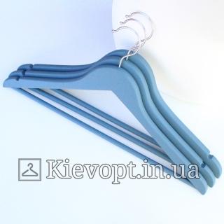 Деревянные вешалки soft touch покрытие сине-серые, 44 см, 3 шт  (09-16-03)