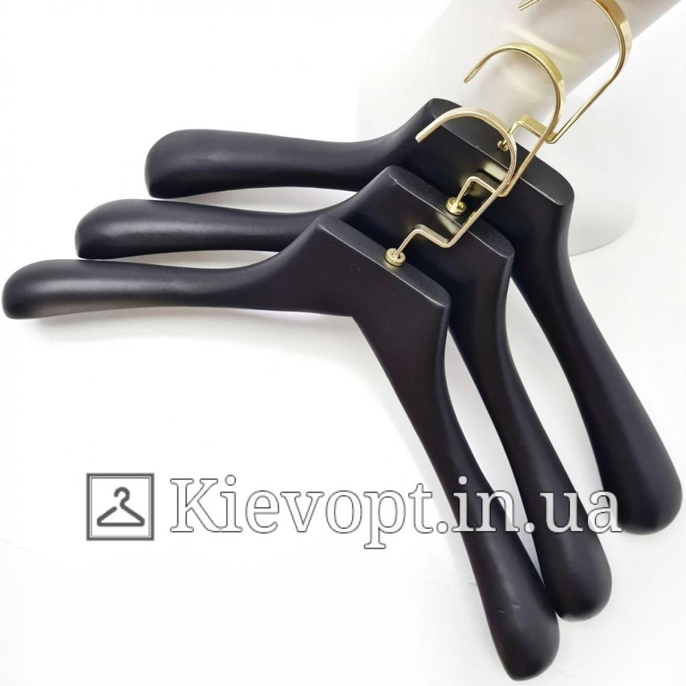 Вешалки тремпеля деревянные черные Италия VIP, 44 см (09-05-17)