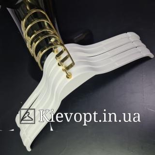 Вешалки тремпели деревянные белые для одежды Италия VIP, 44 см (09-05-14)