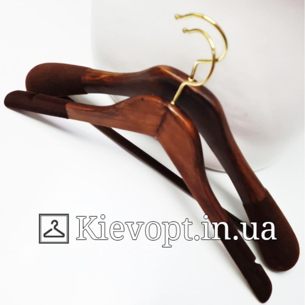Вешалки деревянные флокированные для одежды Италия VIP, 44 см (09-05-12)