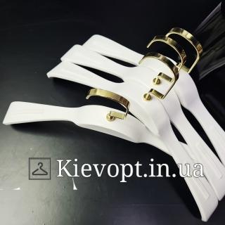 Вешалки деревянные белые для одежды Италия VIP, 44 см (09-05-13)