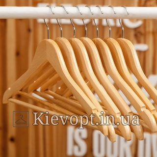 Деревянные плечики вешалки лакированные с перекладиной костюмные, 44 см, 5 шт