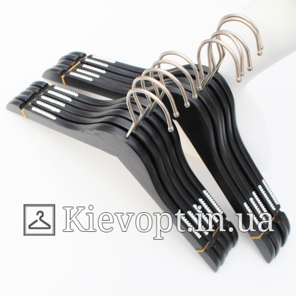 Деревянные плечики вешалки для одежды черные, 44 см