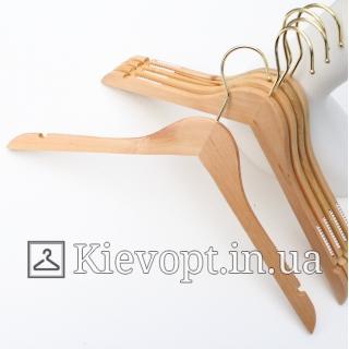 Деревянные плечики вешалки прорезиненные с золотым крючком, 44 см
