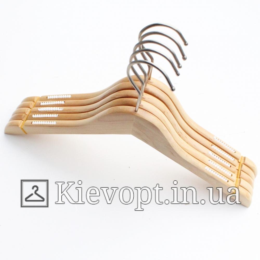 Деревянные плечики вешалки лакированные с прорезиненным плечом, 38 см