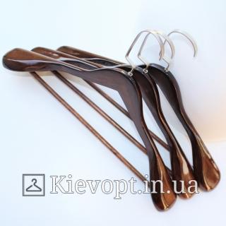 Деревянные плечики вешалки лакированные для верхней одежды, 45 см