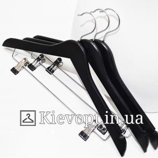 Деревянные вешалки плечики для костюмов черные, 44 см (09-15-03)
