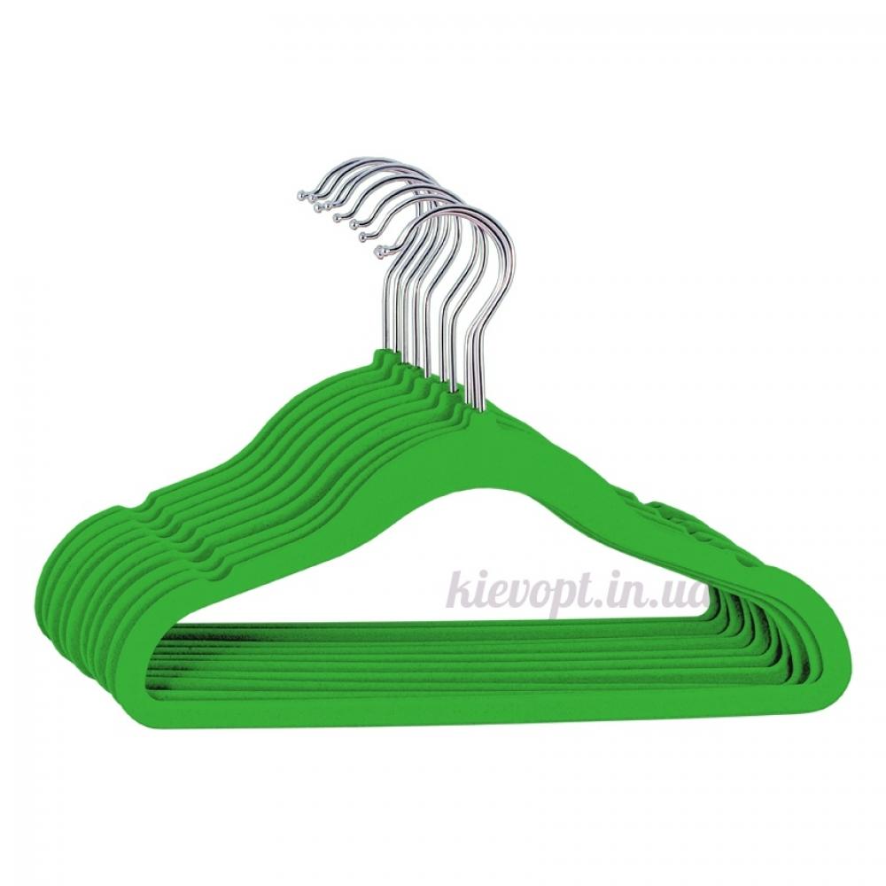Детские плечики вешалки флокированные (бархатные) зеленые, 31 см, 5 шт