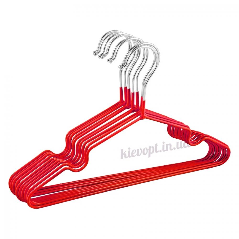 Детские вешалки плечики металлические с силиконовым покрытием красные, 30 см, 10 шт
