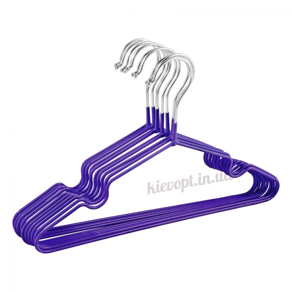 Детские вешалки плечики металлические с силиконовым покрытием фиолетовые, 30 см, 10 шт