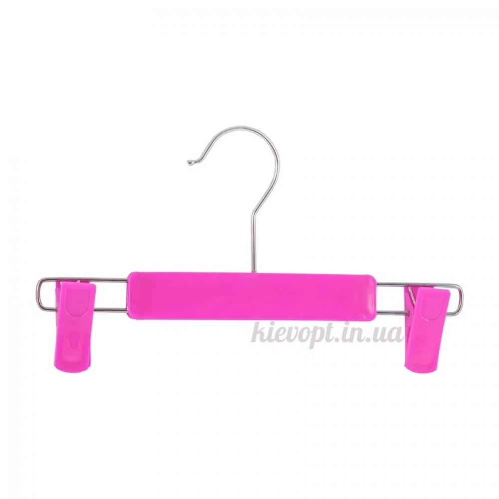 Детские плечики вешалки с прищепками для юбок и брюк розовые, 26 см