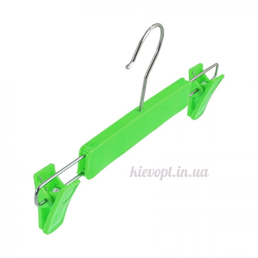 Детские плечики вешалки с прищепками для юбок и брюк зеленые, 26 см