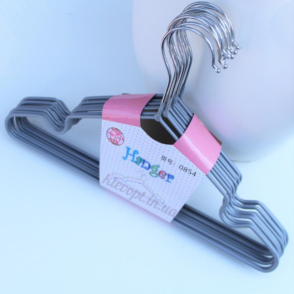 Детские вешалки плечики металлические с силиконовым покрытием серебро, 30 см, 10 шт