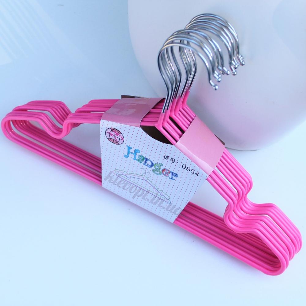 Детские вешалки плечики металлические с силиконовым покрытием розовые, 30 см, 10 шт