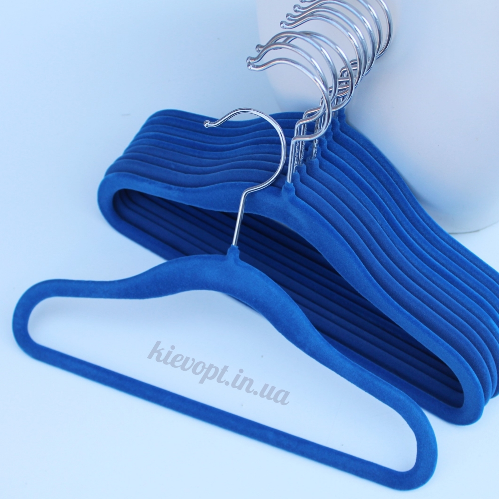 Детские плечики вешалки флокированные (бархатные) синие, 31 см
