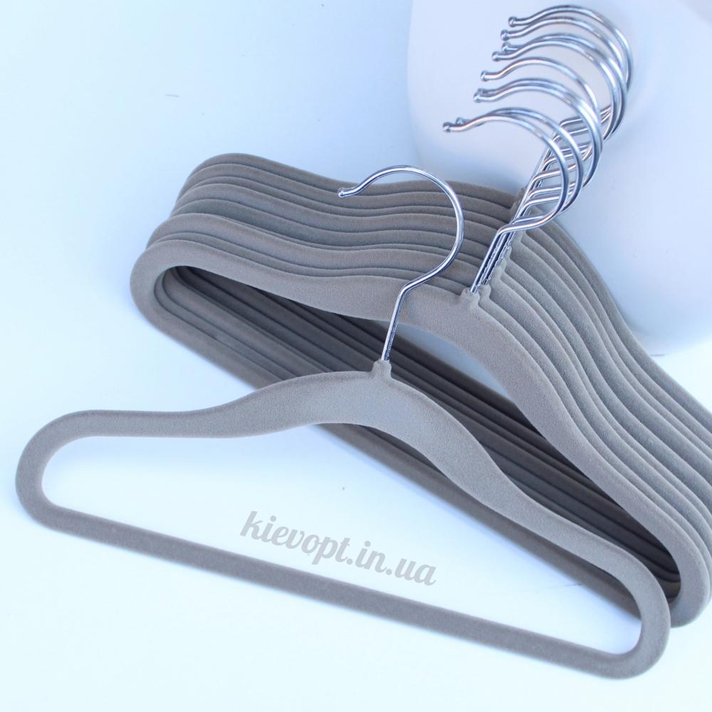 Детские плечики вешалки флокированные (бархатные) серые, 31 см