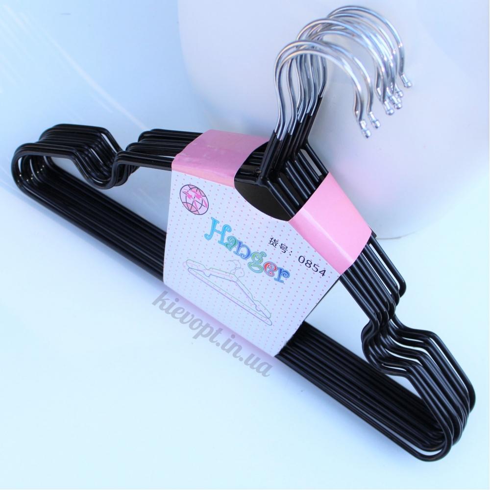 Детские вешалки плечики металлические с силиконовым покрытием черные, 30 см, 10 шт