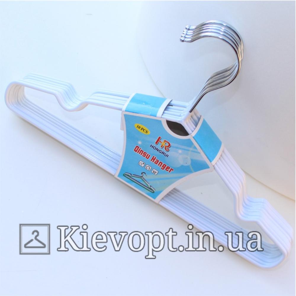 Детские вешалки плечики металлические с силиконовым покрытием белые, 30 см