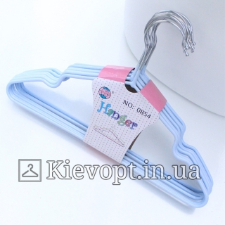Детские вешалки плечики металлические с силиконовым покрытием лаванда, 30 см, 10 шт