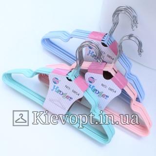 Детские вешалки плечики металлические с силиконовым покрытием мятные, 30 см, 10 шт