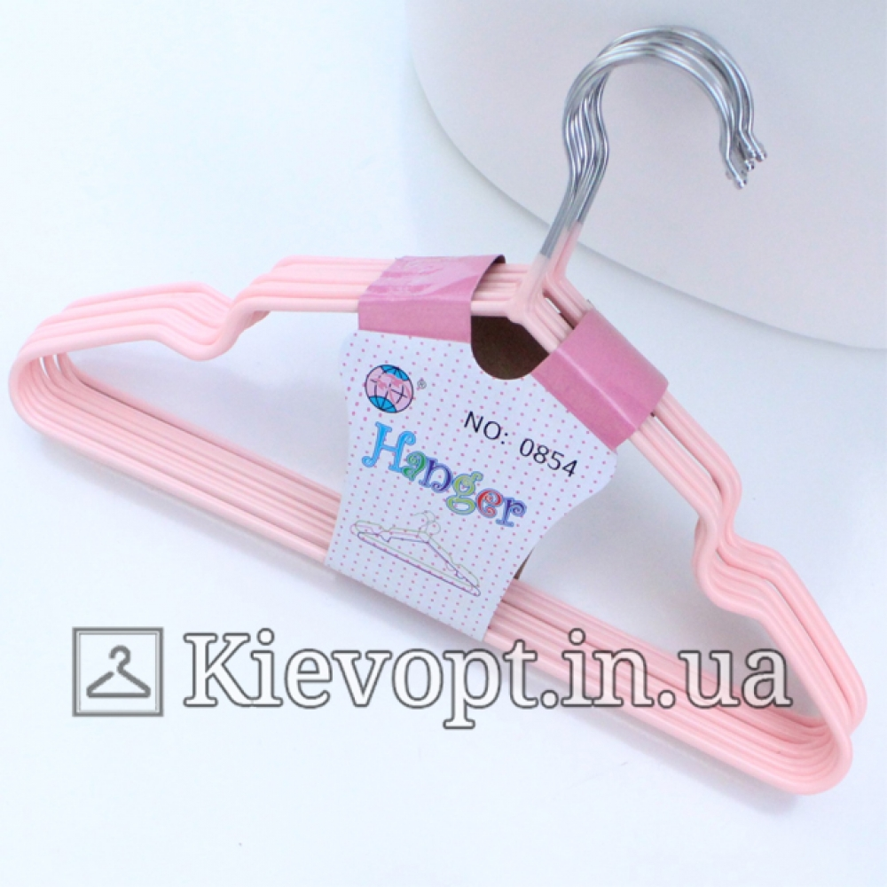 Детские вешалки плечики металлические с силиконовым покрытием (все цвета), 30 см, 10 шт