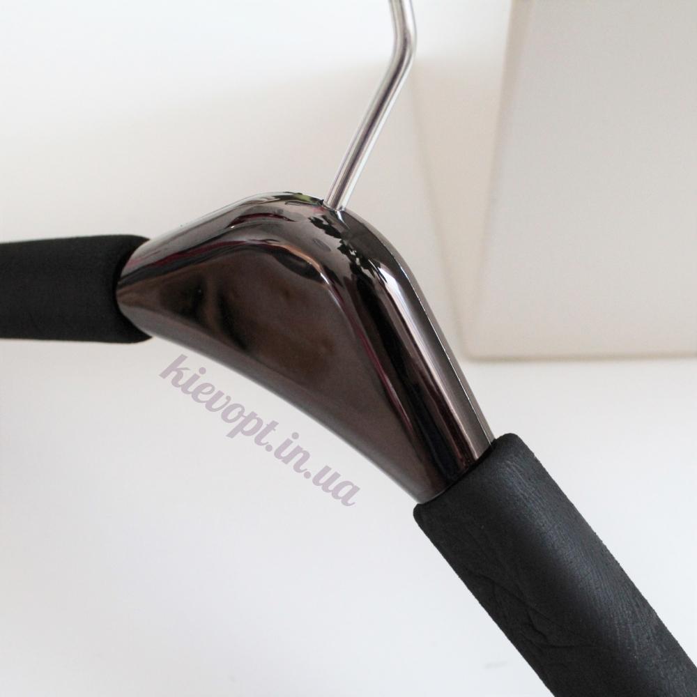 Плечики вешалки поролоновые мягкие с перламутровой черной вставкой, 42 см