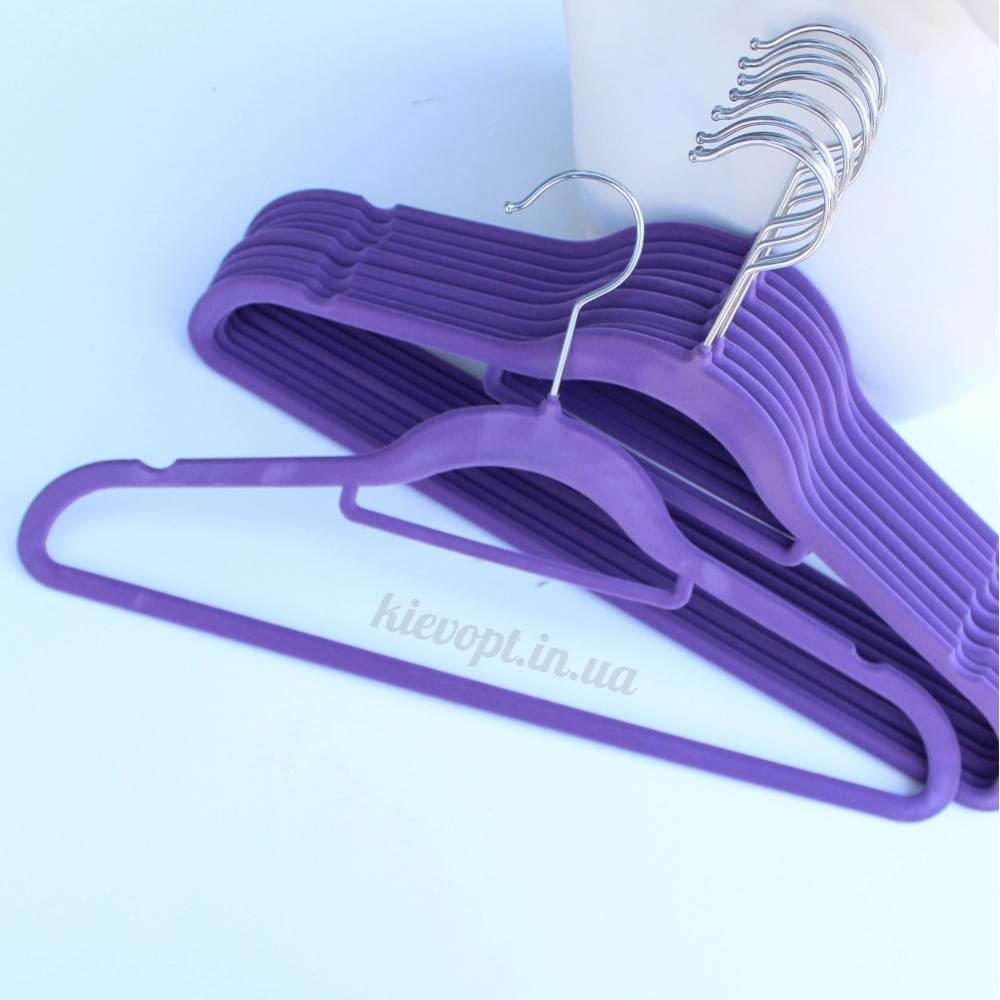 Плечики вешалки бархатные (флокированные, велюровые) фиолетовые, 42 см, 5 шт