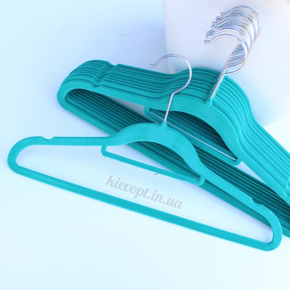 Плечики вешалки бархатные (флокированные, велюровые) бирюзовые, 42 см
