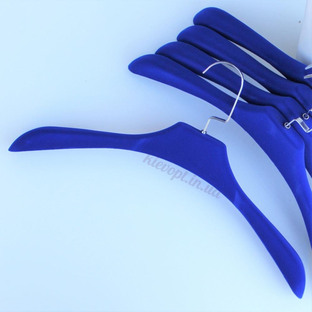 Плечики вешалки бархатные (велюровые) для верхней одежды и шуб синие, 42 см