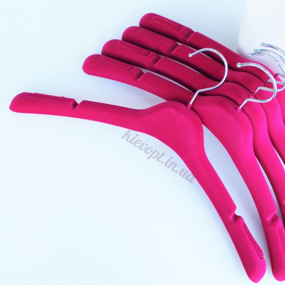 Плечики вешалки бархатные (флокированные) для верхней одежды розовые, 43 см