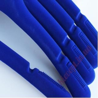 Плечики вешалки бархатные (флокированные) для верхней одежды синие, 43 см