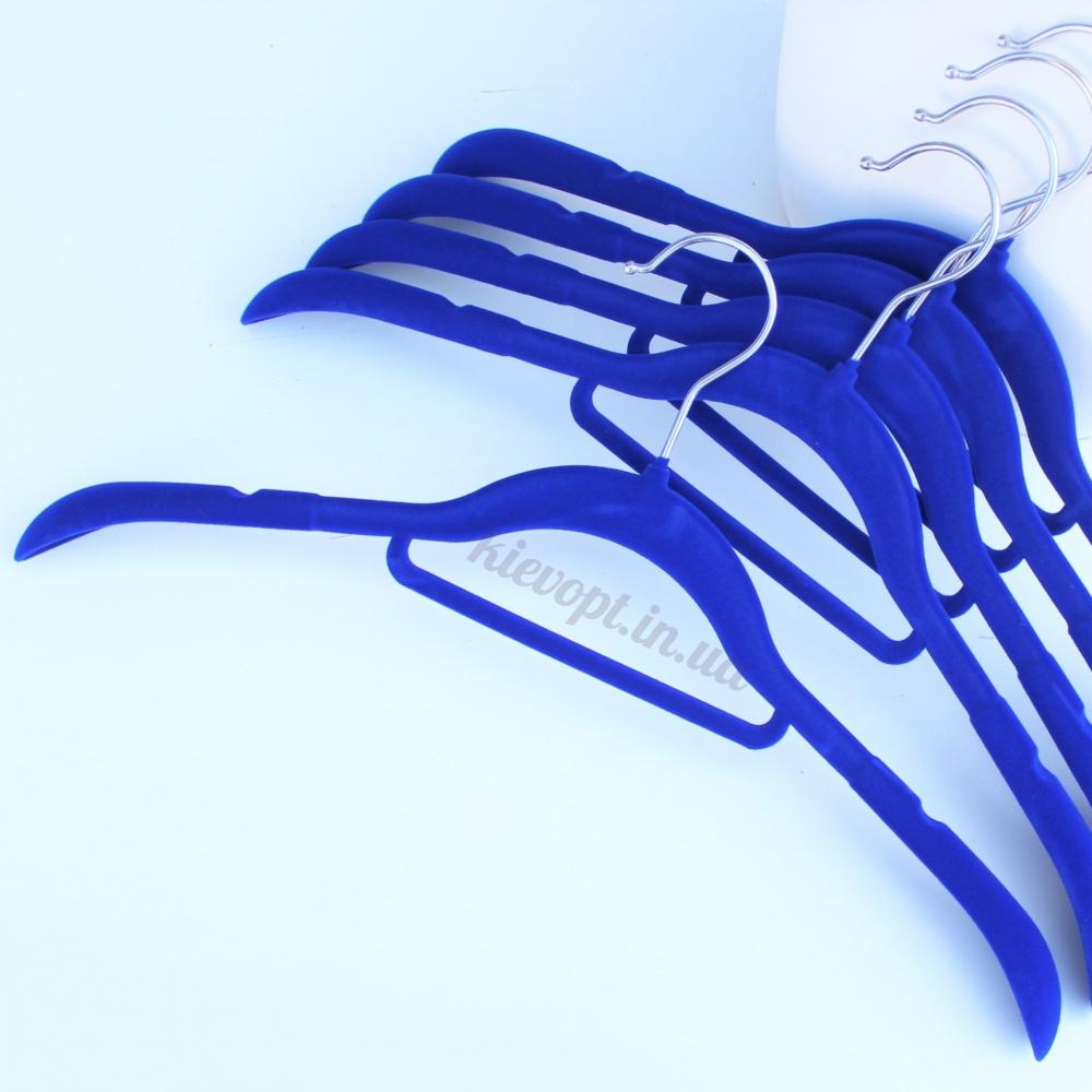 Плечики вешалки бархатные (флокированные) для одежды синие, 42 см