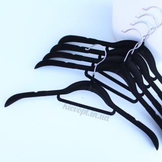 Плечики вешалки бархатные (флокированные) для одежды черные, 42 см