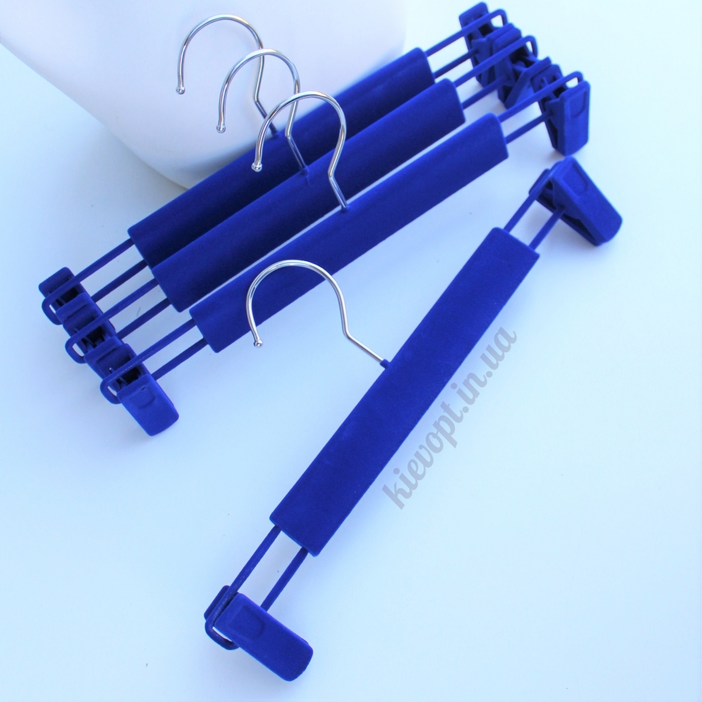Плечики вешалки флокированные с прищепками для юбок и брюк синие, 33 см