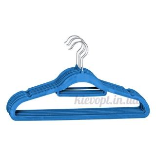 Плечики вешалки бархатные (флокированные, велюровые) синие, 42 см