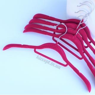 Плечики вешалки бархатные (флокированные) для одежды розовые, 42 см